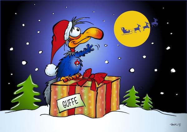 Guffe vinker til julemanden